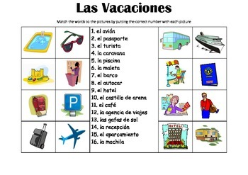 SPANISH - Picture Match - Las Vacaciones (Holidays/Vacations)