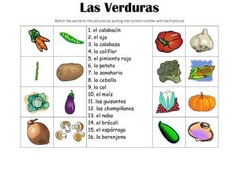 SPANISH - Picture Match - Las Verduras (Vegetables)