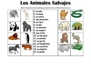 SPANISH  - Picture Match - Los Animales Salvajes (wild animals)