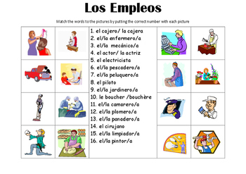 SPANISH - Picture Match - Los Empleos (jobs)
