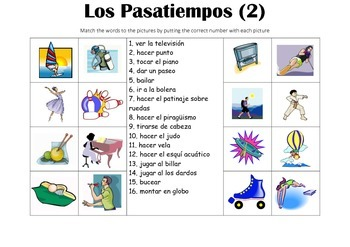 SPANISH - Picture Match - Los Pasatiempos 2 (Hobbies)