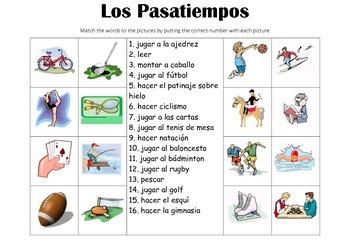 SPANISH - Picture Match - Los Pasatiempos (Hobbies)