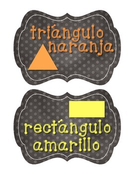 SPANISH Polka Dot Chalkboard Colors and Shapes Posters