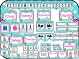 SPANISH Polka Dot Llama Themed Classroom Decor (azul turquesa-rosa)