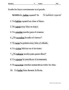 SPANISH Preterite / Past Tense 20 pages ESPAÑOL El preterito/ pasado 20 paginas