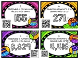 SPANISH QR Code Rounding in Tens and Hundreds Task Cards