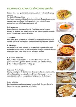 SPANISH READING/ LECTURA: 10 PLATOS TÍPICOS DE ESPAÑA