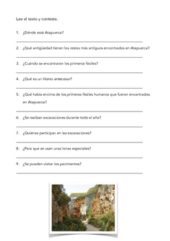 SPANISH READING: ATAPUERCA ARCHAELOGICAL SITE