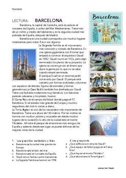 SPANISH READING: BARCELONA  Y MADRID