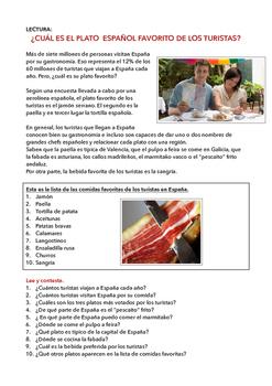 SPANISH READING/ LECTURA: ¿CUÁL ES EL PLATO FAVORITO DE LOS TURISTAS?