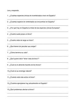 SPANISH READING: EL LINCE IBERICO
