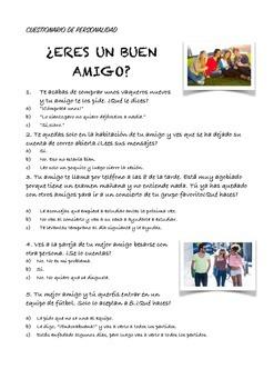 SPANISH READING: ¿ERES UN BUEN AMIGO?
