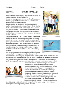 SPANISH READING ESTA ES MI VIDA  (A/B)