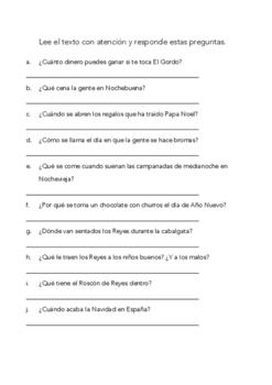 SPANISH READING: FELIZ NAVIDAD