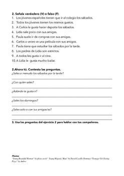 SPANISH READING FREE TIME TIEMPO LIBRE SÁBADO
