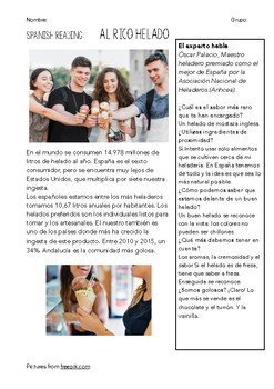 SPANISH READING: LECTURAS SOBRE COMIDA (II)