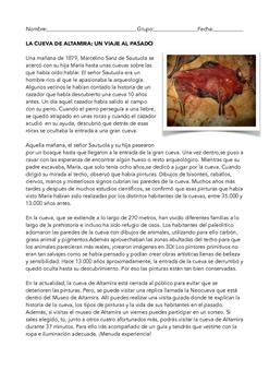 SPANISH READING  LA CUEVA DE ALTAMIRA
