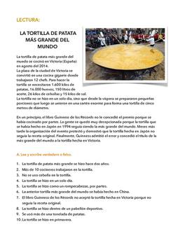 SPANISH READING/ LECTURA: LA TORTILLA DE PATATA MÁS GRANDE