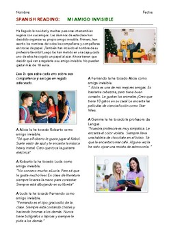 SPANISH READING: MI AMIGO INVISIBLE (SECRET SANTA)