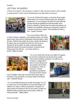 SPANISH READING: MI BARRIO (BARCELONA)