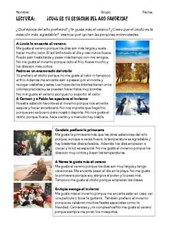 SPANISH READING: MI ESTACIÓN DEL AÑO FAVORITA