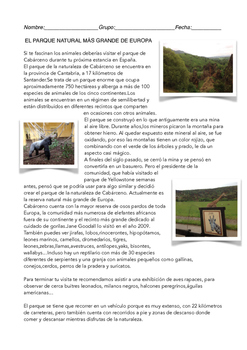 SPANISH READING: PARQUE DE LA NATURALEZA