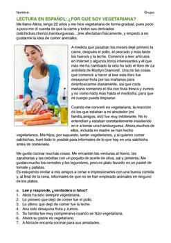 SPANISH READING / LECTURA: POR QUÉ SOY VEGETARIANA