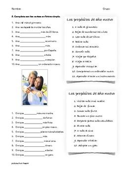 SPANISH READING: PROPOSITOS DE AÑO NUEVO