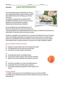 SPANISH READING/ LECTURA: ¡QUÉ DESPERDICIO!