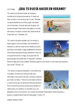 2 SPANISH READINGS: QUE TE GUSTA HACER EN VERANO (PRESENT)