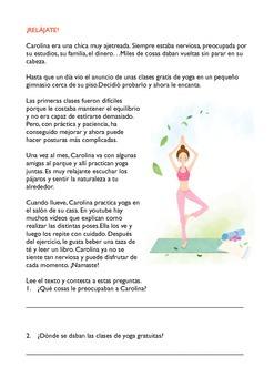 SPANISH READING: ¡RELÁJATE!