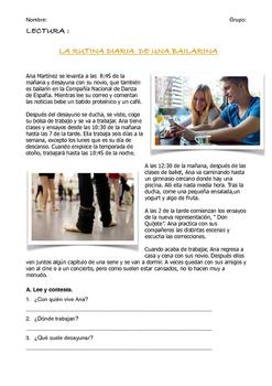 SPANISH READING / LECTURA: RUTINA DIARIA DE UNA BAILARINA