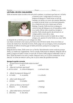 SPANISH READING: UN DIA CUALQUIERA