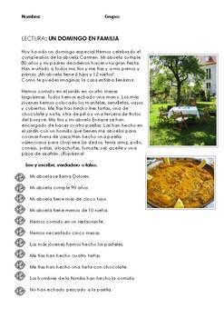 SPANISH READING: UN DOMINGO EN FAMILIA