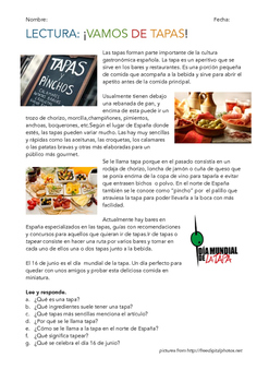 SPANISH READING/ LECTURA: ¡VAMOS DE TAPAS!