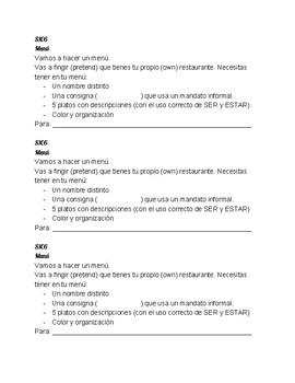 SPANISH RESTAURANT MENU MINI PROJECT