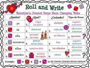 SPANISH ROLL & WRITE HOLIDAY BUNDLE: Present, Past & Future Verbs