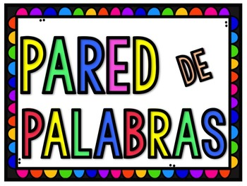 SPANISH Rainbow Word Wall Labels and Cards [Editable]