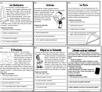 SPANISH - Reading Comprehension Short Stories SET #2 - Comprensión de Lectura