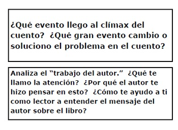 SPANISH-Español Lectura-Reading Task Cards