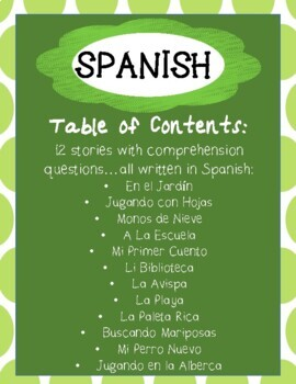 SPANISH - Reading Comprehension Passages and Questions