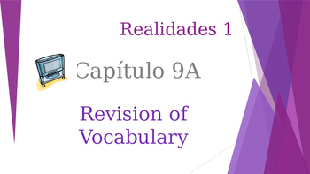 SPANISH - Realidades 1 Capítulo 9A Revision PPT