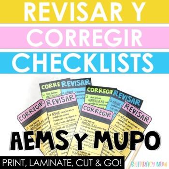 Spanish Writing Checklist - AEMS y MUPO! Revise & Edit!
