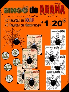 HALLOWEEN SPANISH SPIDER NUMBER BINGOOOO!