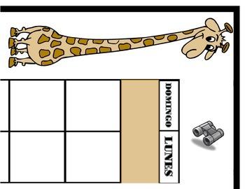 SPANISH Safari Calendar Set! SPANISH Safari Theme! Safari Bulletin Board!