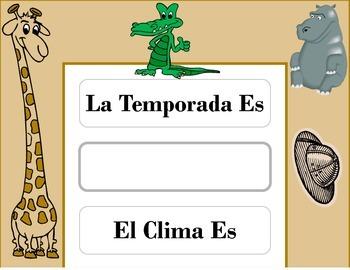 SPANISH Safari Weather Chart! SPANISH Safari Theme! SPANIS