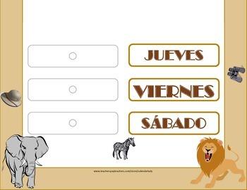 SPANISH Safari Weekday Chart! SPANISH Safari Theme! SPANISH Safari Bulletin!