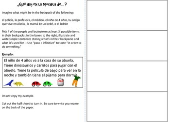SPANISH School Supplies and Clothes Activities