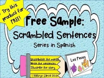 Spanish Scrambled Sentences for Dual Language Bilingual FREE Los Peces Fish