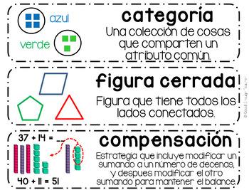 SPANISH: Second Grade CCSS Math Vocabulary Word Wall Cards en español